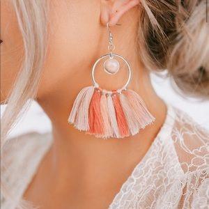 Boho Fringe Tassel Hoop-Style Earrings NWT
